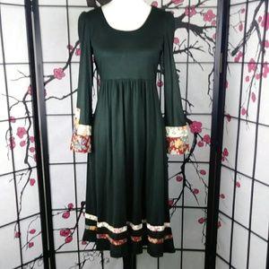 Vtg Hippie Dress Young Edwardian Bell Sleeve Boho
